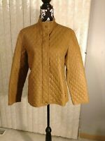 Womens Hilary Radley Leather Quilted Coat Tan W/Pockets Nehru Collar Size Large