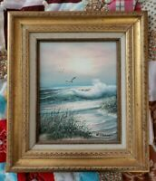 """Oil 15.25""""×13.25"""" framed Painting SeaScape Signed By Artist W Dawson beach"""