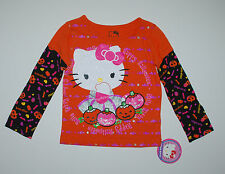 Langarmshirt~USA~86-92~Hello Kitty~Pullover~Glitter~Halloween~orange~Kürbis~neu