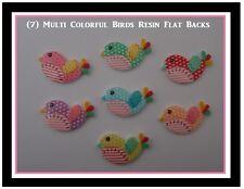 7) Birds Resin FlatBacks Mutli Color Birds 42MM x 27MM DIY Hair Bows Buttons
