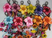 Orchid Charm Flower Key Chain Ring Genuine Leather Handbag Purse Handmade Gift