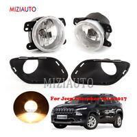 For Jeep Cherokee 2014 2015-2017 Fog Light+Cover Bezel Front Bumper Driving Lamp