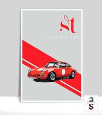 """Porsche 911ST Red. Art Print on Aluminum Porsche Poster 18""""x 24"""""""