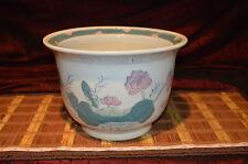 "Vintage Asian Pink Blue and White Floral & Birds Porcelain Planter 11 3/4""x8"""