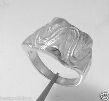 Size 9 Wavy Textured Status Ring  Real Solid 925 Sterling Silver 8.3gr
