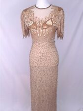 Scala Pure Silk Heavily Beaded Sequin Fully Lined Formal Evening Gown Size Small