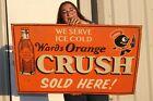 "Large Vintage Ward's Orange Crush Soda Pop Gas Oil 36"" Metal Sign"