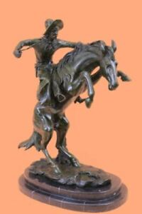 BRONCO BUSTER by Frederic Remington 100% Bronze on Marble Sculpture Statue DEAL