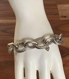 "$695 David Yurman Sterling Silver XL Oval Link Bracelet 9"" Long"