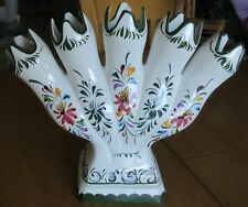 """Vintage RCCL 5 Finger Bud Vase Made in Portugal Hand Painted 6"""" Tall Multi-color"""