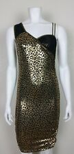 Cameo Womens Animal Print Gold Black Form Fitting Cocktail Dress Size Large