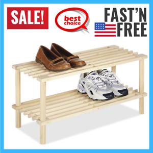 Small Shoe Rack Entryway Wooden Shoes Storage Shelf Wood Shelves Front Door Room