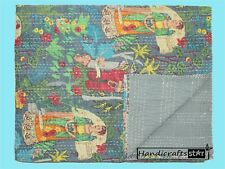 Indian Bedding Coverlets Cotton Handmade Blankets Throw Kantha Quilts Bedspreads