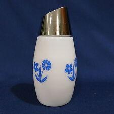 Vintage White Milk Glass Blue Delft Flower Cornflower Sugar Dispenser by Gemco