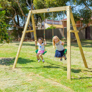Holt Double Wooden Swing Set