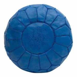 SALE! Moroccan Genuine Leather Boho Pouf Ottoman Footstool Pouffe blue color