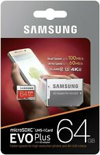 ORIGINAL Samsung 64GB MicroSD Card EVO PLUS CLASS-10-U3 memory card with Adapter