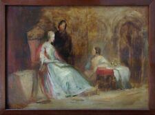 Quadro dipinto antico olio su tavola romanticismo XIX secolo interno con figure
