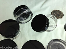 25 Cosmetic Jars Empty Beauty Containers Lip Balm DIY Supply 3 Gram Black Lids .