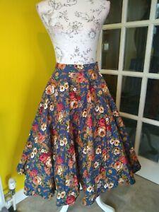 Lindy Bop Navy Blue Floral Print Full Circle Swing Skirt Size 14