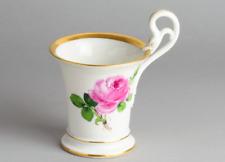 CNC: Porzellan Meissen Tasse 7,6 cm Rote Rose Goldrand 1. Wahl