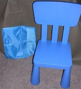 Ikea Mammut Series 16962 Children Kid Chair Indoor Outdoor Blue Over Back Pocket