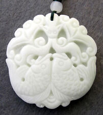 Bat Fishes Amulet Pendant Jewelry White Jade Gemstone Happy Lucky