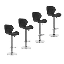 Set Of 4 Bar Stools Modern Chair Kitchen Pub Leather Breakfast Seat Swivel Black