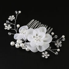 Crystal Rhinestones Silk Flowers Pearls Hair Comb Clip Bridal Wedding Party New
