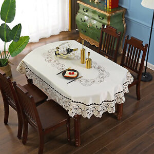 Vintage Embroidered Lace Floral Tablecloth Oval Dining Table Cloth Cover Wedding