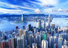 HONG KONG SKYLINE VIEW NEW A1 CANVAS GICLEE ART PRINT POSTER