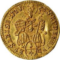 1713 Austria Salzburg Franz Anton von Harrach zu Rorau Gold 1/4 Ducat NGC AU-55