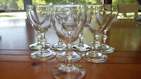 Clear glass Claret Wine Glasses in Georgian by Libbey Glass Company 8 5 oz stems