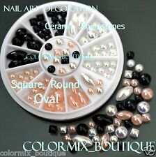 #R38 Nail Art Tips Decoration Square Round Oval Ceramic Glitter Rhinestones