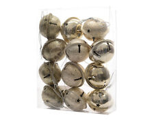 12 x Gold Jingle Bells Baubles Christmas Tree Decorations Mixed Finishes 4cm