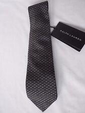 NEW Mens Ralph Lauren Handmade In Italy Woven Black & Grey Silk Tie RRP £115