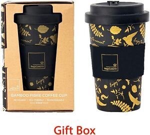 Reusable Bamboo Fibre Ecoffee Cup Tea Coffee Mug Travel Mug Eco Cup BLACK & GOLD
