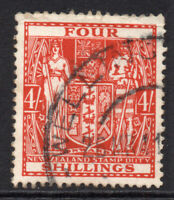 New Zealand 4/- Stamp c1940-58 Used (6765)