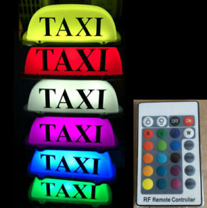 Taxi Sticker Cab Car Driver Roof Light Remote Color Change Rechargeable Battery