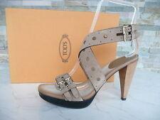 Tods Tod´s Gr 37,5 Plateau Sandaletten Heels Schuhe Shoes beige  neu  UVP 340€