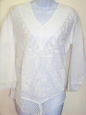 White Cotton Embroidered Tunic Top Kurti  Lace V Neck from India