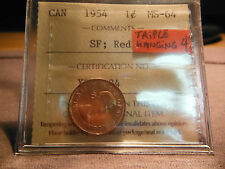1954 TRIPLE Hanging 4 One Cent * ICCS MS-64 * Ultra Low Mintage & Scarce Variety