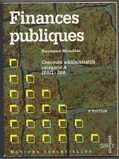 FINANCES PUBLIQUES  CONCOURS ADMINISTRATIFS CATEGORIE A IPAG - IRA - R. MUZELLEC