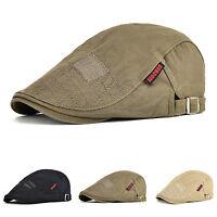 Mens Solid Cotton Gatsby Cap Ivy Golf Driving Hat Flat Cabbie Newsboy Cap