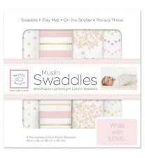 "New ListingSwaddleDesigns~ 4pk Swaddle Blankets ""Heavenly Floral Shimmer� {Small 3-6 Mths}"