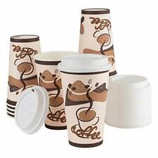 16 Sets 16 Oz 16 Ounce Paper Hot Cups Disposable Coffee Cups With Lids