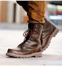 Mens leather Military genuine leather desert combat work High ankle Boot shoes
