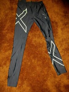 2XU  men's size XL black/lime green graphics tights