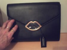 NEW with Labels**LULU GUINNESS** Envelope clutch Black LEATHER with Cut Out Lips