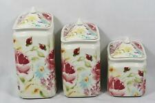 222 Fifth Floral Fete Porcelain Floral Three Piece Canister Set / Lids New